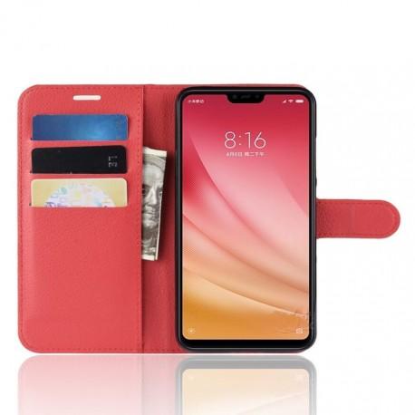 Etuis Portefeuille Xiaomi MI 8 Lite Simili Cuir Rouge