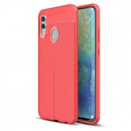 Coque Silicone Honor 10 Lite Cuir 3D Rouge