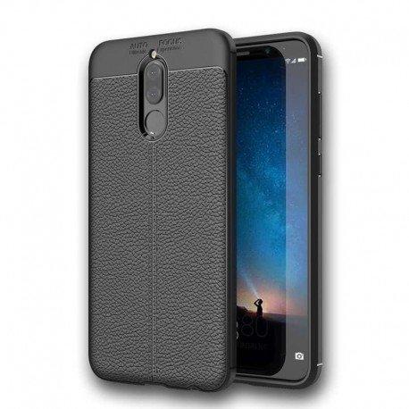Coque Silicone Huawei Mate 10 Lite Cuir 3D Noir