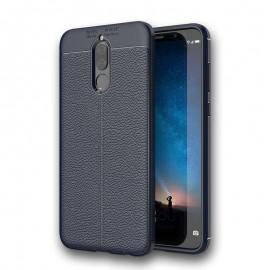Coque Silicone Huawei Mate 10 Lite Cuir 3D Bleu
