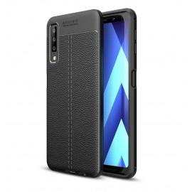 Coque Silicone Samsung Galaxy A7 2018 Cuir 3D Noir