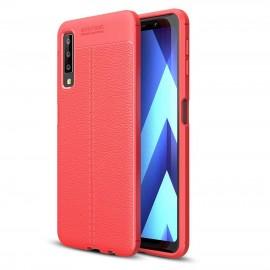 Coque Silicone Samsung Galaxy A7 2018 Cuir 3D Rouge