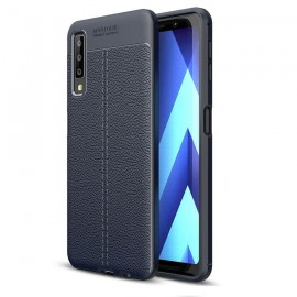 Coque Silicone Samsung Galaxy A7 2018 Cuir 3D Bleu