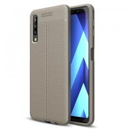 Coque Silicone Samsung Galaxy A7 2018 Cuir 3D Gris