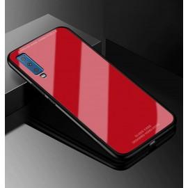 Coque Samsung Galaxy A7 2018 Silicone Rouge et Verre Trempé