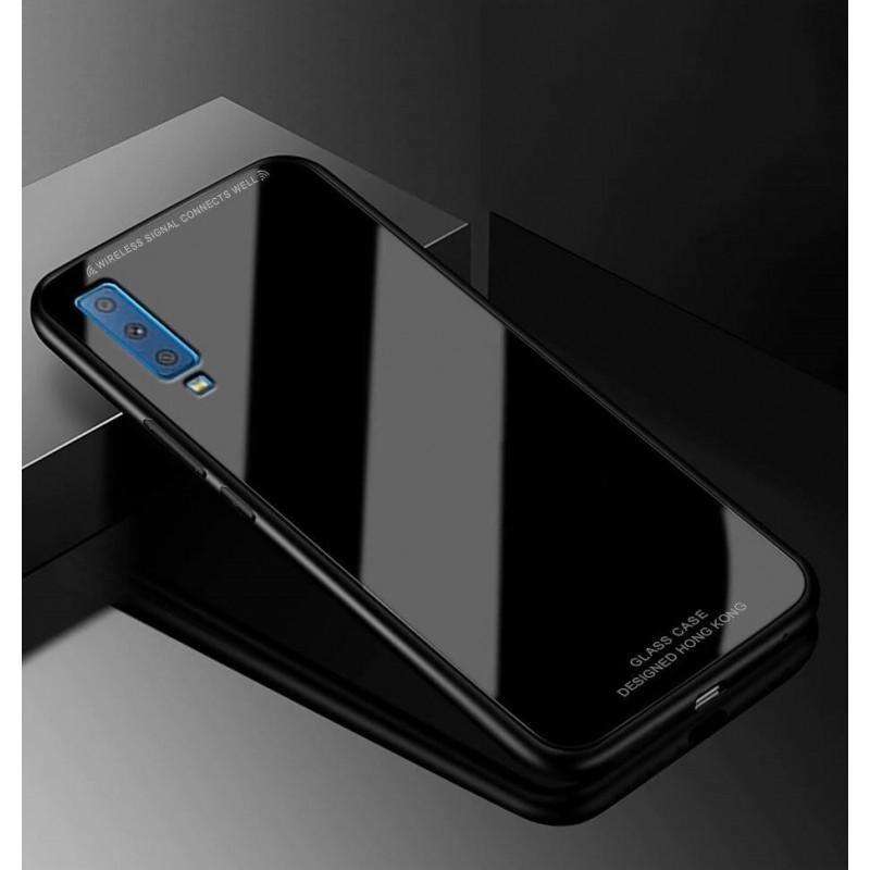 Coque Samsung Galaxy A7 2018 Silicone Noir et Verre Trempé