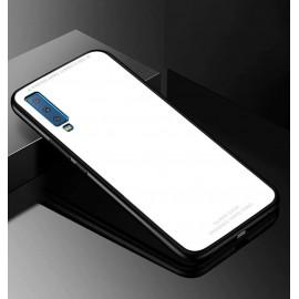 Coque Samsung Galaxy A7 2018 Silicone Blanche et Verre Trempé