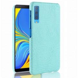 Coque Samsung Galaxy A7 2018 Croco Cuir Turquoise