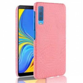 Coque Samsung Galaxy A7 2018 Croco Cuir Rose
