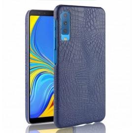 Coque Samsung Galaxy A7 2018 Croco Cuir Bleu