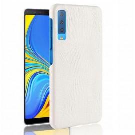 Coque Samsung Galaxy A7 2018 Croco Cuir Blanche