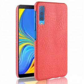 Coque Samsung Galaxy A7 2018 Croco Cuir Rouge