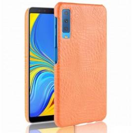 Coque Samsung Galaxy A7 2018 Croco Cuir Orange