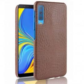 Coque Samsung Galaxy A7 2018 Croco Cuir Marron