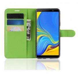 Etuis Portefeuille Samsung Galaxy A7 2018 Simili Cuir Verte