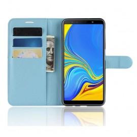 Etuis Portefeuille Samsung Galaxy A7 2018 Simili Cuir Bleu