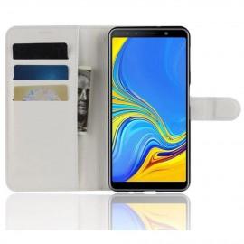 Etuis Portefeuille Samsung Galaxy A7 2018 Simili Cuir Blanche