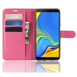 Etuis Portefeuille Samsung Galaxy A7 2018 Simili Cuir Fucsia