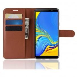 Etuis Portefeuille Samsung Galaxy A7 2018 Simili Cuir Marron