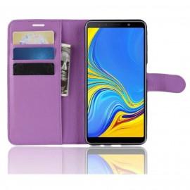 Etuis Portefeuille Samsung Galaxy A7 2018 Simili Cuir Violette