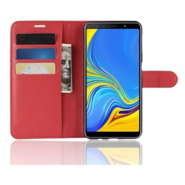 Etuis Portefeuille Samsung Galaxy A7 2018 Simili Cuir Rouge