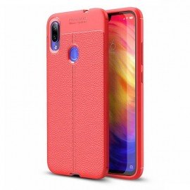 Coque Silicone Xiaomi Redmi note 7 Cuir 3D Rouge
