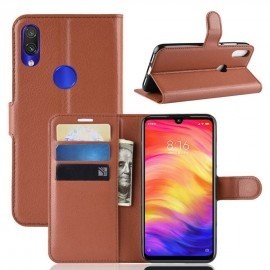 Etuis Portefeuille Xiaomi Redmi Note 7 Simili Cuir Marron.