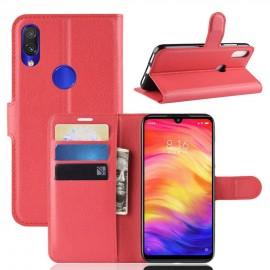 Etuis Portefeuille Xiaomi Redmi Note 7 Simili Cuir Rouge