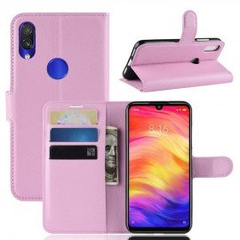 Etuis Portefeuille Xiaomi Redmi Note 7 Simili Cuir Rose