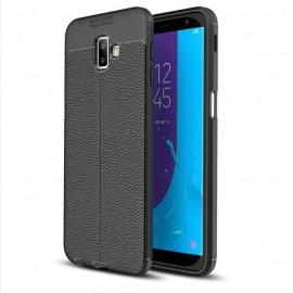 Coque Silicone Samsung Galaxy J6 Plus Cuir 3D Noir