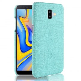 Coque Samsung galaxy J6 Plus Croco Cuir Turquoise