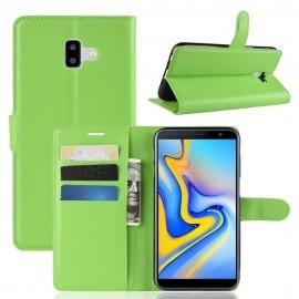 Etuis Portefeuille Samsung Galaxy J6 Plus Simili Cuir Verte