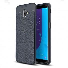Coque Silicone Samsung Galaxy J6 Plus Cuir 3D Bleu