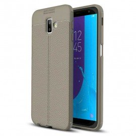 Coque Silicone Samsung Galaxy J6 Plus Cuir 3D Gris