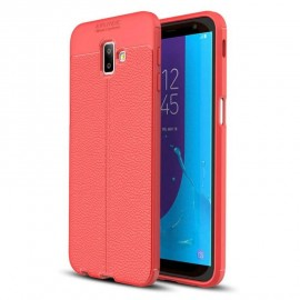 Coque Silicone Samsung Galaxy J6 Plus Cuir 3D Rouge
