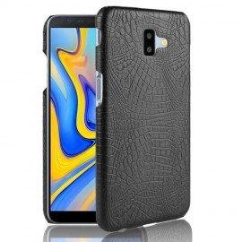 Coque Samsung galaxy J6 Plus Croco Cuir Noir