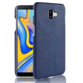 Coque Samsung galaxy J6 Plus Croco Cuir Bleu