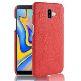 Coque Samsung galaxy J6 Plus Croco Cuir Rouge