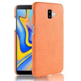 Coque Samsung galaxy J6 Plus Croco Cuir Orange