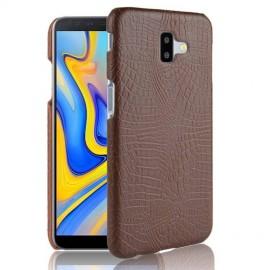 Coque Samsung galaxy J6 Plus Croco Cuir Marron