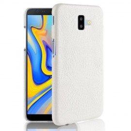 Coque Samsung galaxy J6 Plus Croco Cuir Blanche