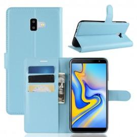 Etuis Portefeuille Samsung Galaxy J6 Plus Simili Cuir Bleu