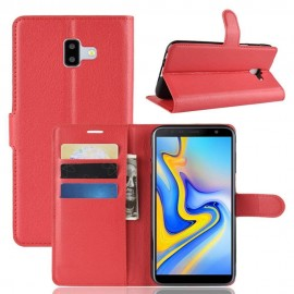 Etuis Portefeuille Samsung Galaxy J6 Plus Simili Cuir Rouge