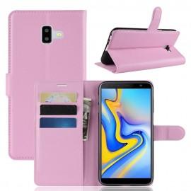 Etuis Portefeuille Samsung Galaxy J6 Plus Simili Cuir Rose