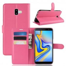 Etuis Portefeuille Samsung Galaxy J6 Plus Simili Cuir Fucsia