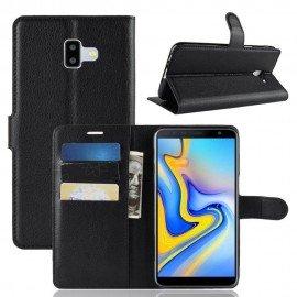 Etuis Portefeuille Samsung Galaxy J6 Plus Simili Cuir Noir