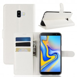 Etuis Portefeuille Samsung Galaxy J6 Plus Simili Cuir Blanche
