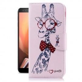Etuis Portefeuille Samsung Galaxy J6 Plus Girafe