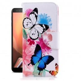 Etuis Portefeuille Samsung Galaxy J6 Plus Papillon