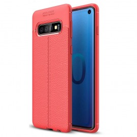 Coque Silicone Samsung Galaxy S10  Cuir 3D Rouge